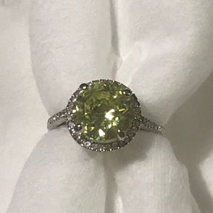 Faux Peridot and Diamond Cocktail Ring